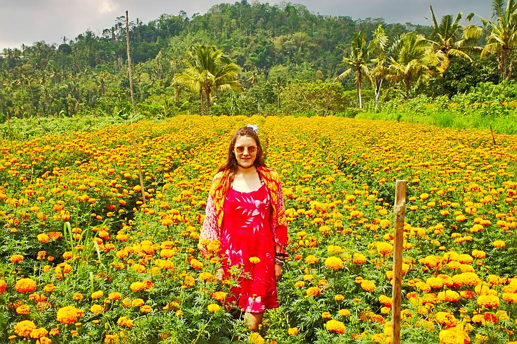 Tina in a marigold field