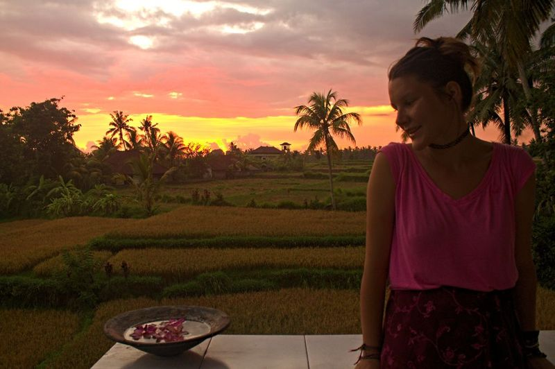 Enjoying the Petulu sunset from the temple's balcony