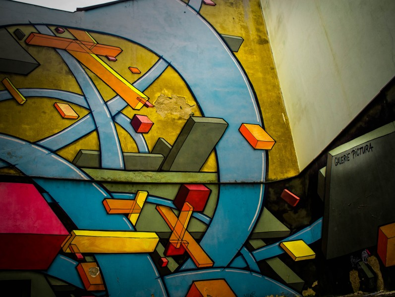 Prague, street art, Cubism, Na Zbořenci