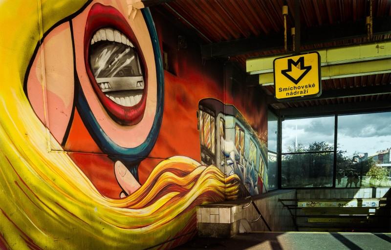 Prague, street art, Psychedelic, Smíchovské nádraží