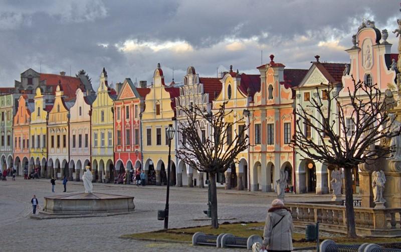 Telč colorful town center