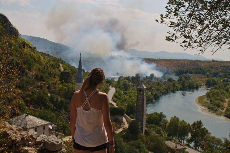 Počitelj, Bosnia and Herzegovna, smoke and fires
