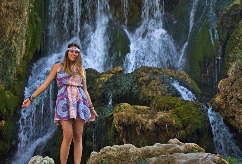 Tina at the Kravica waterfalls (Bosnia and Herzegovina)