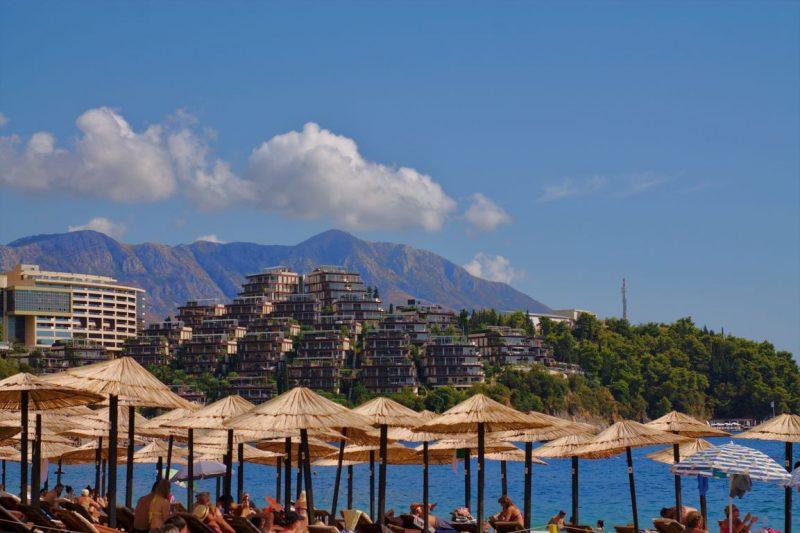 Montenegro, Budva, beach, umbrellas