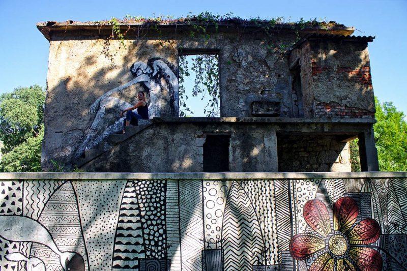 Mostar, street art, abandoned house, Stara Gimnazija, angel
