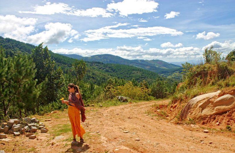 De groene omgeving in het platteland rondom Dalat