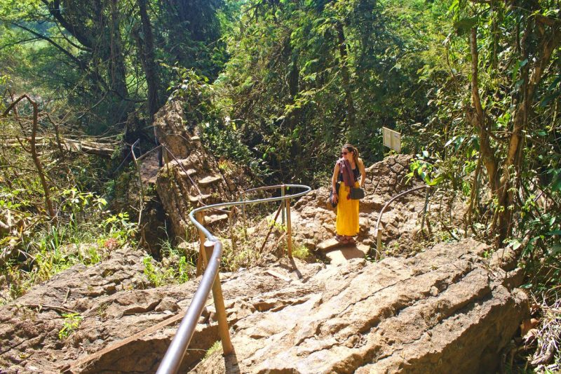 Taking the challenge of the Elephant Waterfall in Dalat, Vietnam