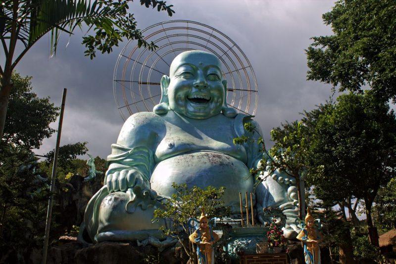 Big Blue Laughing Buddha at Linh An Pagoda in Dalat, Vietnam