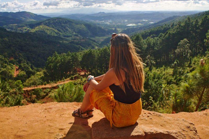 Enjoying the view of Dalat at the viewpoint