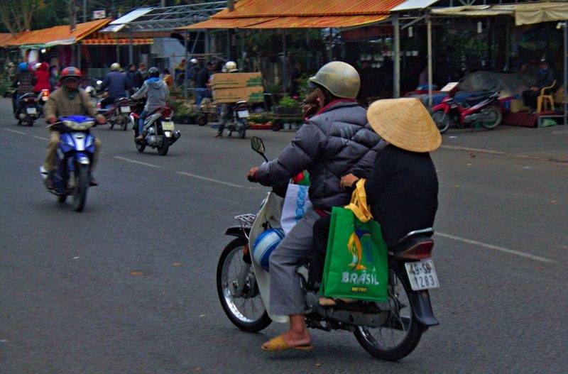 Winter time in Dalat with Asians wearing coats and hats