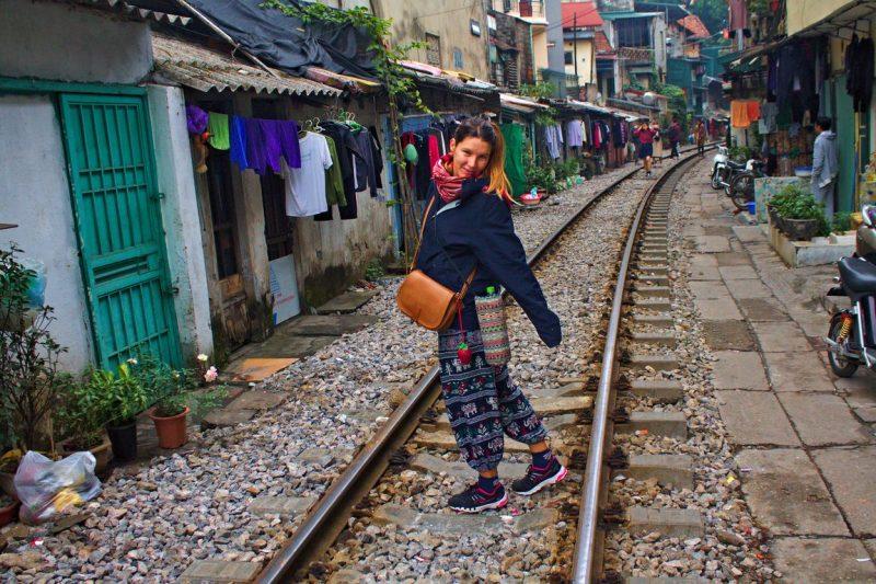 Oud treinspoor in Hanoi