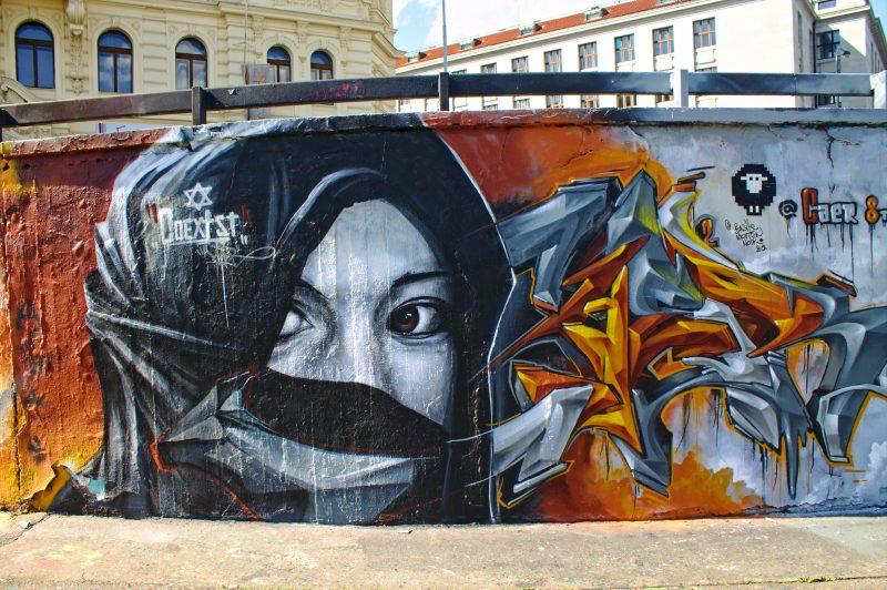 graffity wall, portrait, prague, streetart